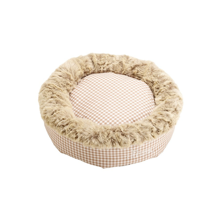 Astana Gingham Round Dog Bed by Hunter - Brown - Fernie's Choice Classic Country Wear for Dogs