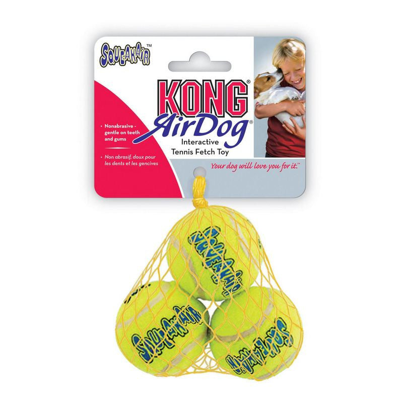 KONG Air Squeaker Tennis Ball Extra Small Dog Toy 3Pk - Fernie's Choice Classic Country Wear for Dogs