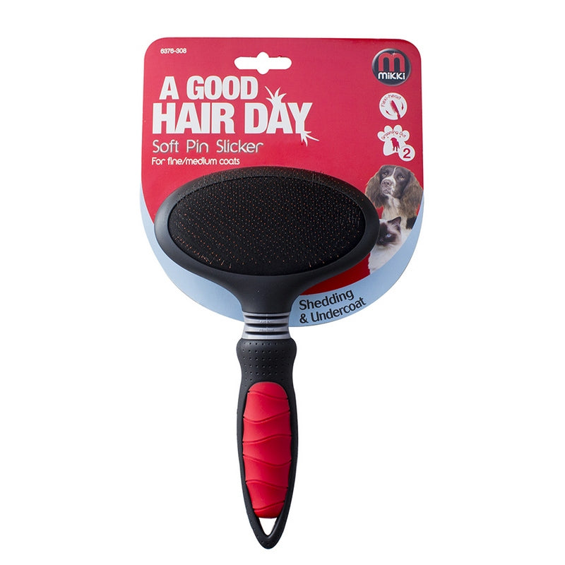 Mikki Soft Pin Slicker Dog Brush - Fine Dog Coats - Dog Grooming Products from Fernie's Choice
