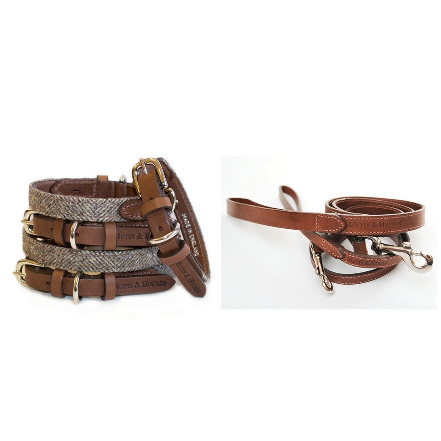 Mutts & Hounds Herringbone Tweed & Leather Dog Collar & Lead Set - Fernie's Choice