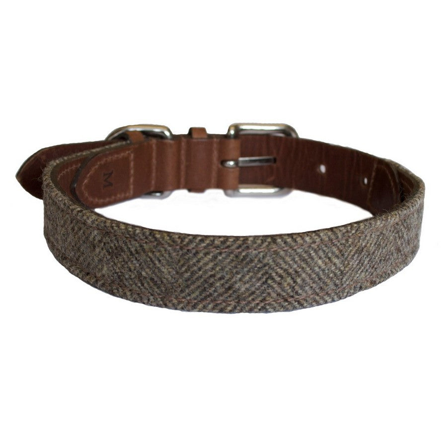Herringbone Tweed & Leather Dog Collar - Fernie's Choice Classic Country Wear for Dogs