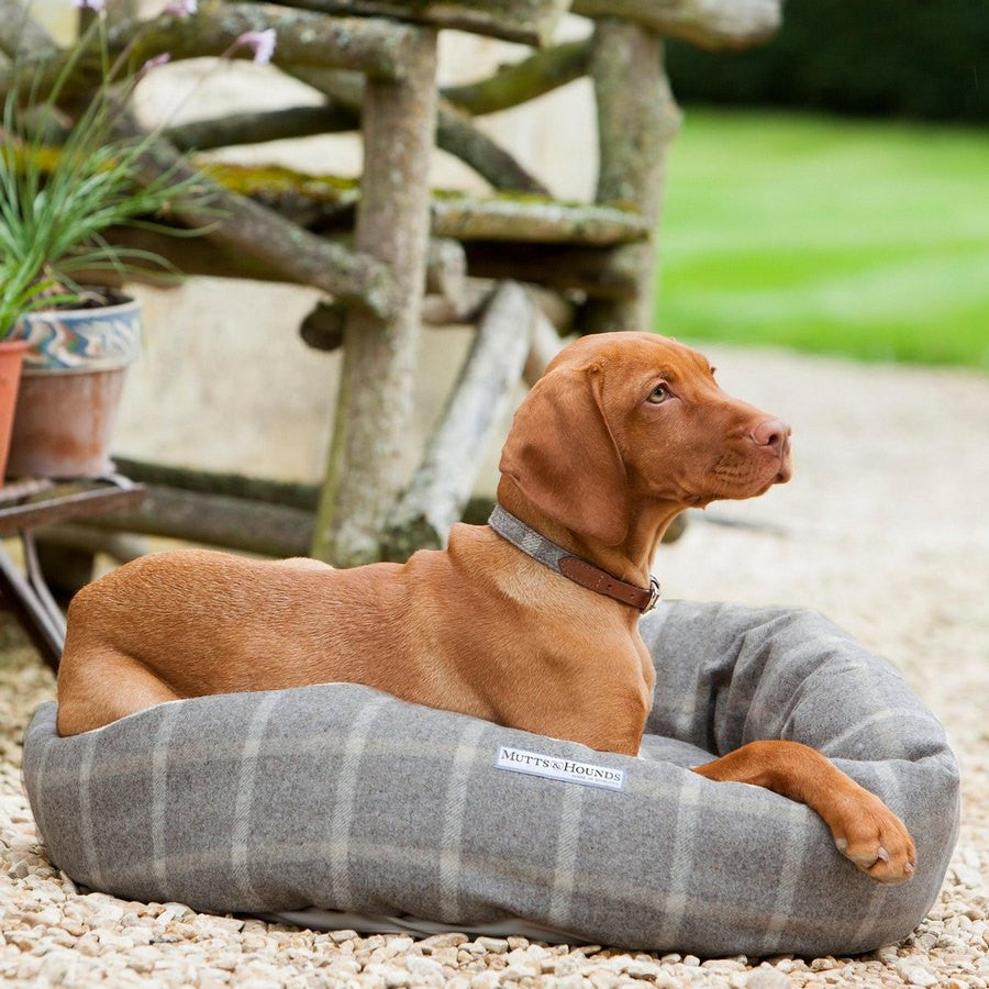 Mutts & Hounds Luxury Slate Tweed Donut Dog Bed - Fernie's Choice