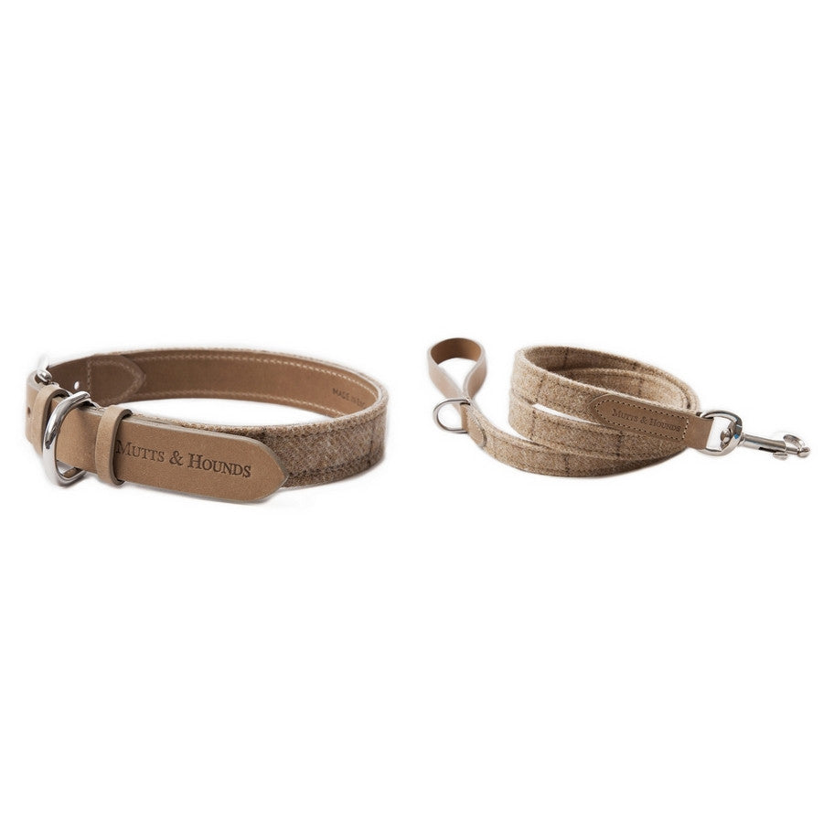 Oatmeal Tweed Collar & Lead Set - Fernie's Choice Classic Country Wear for Dogs