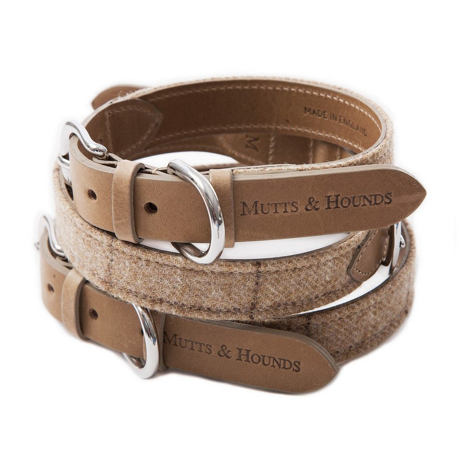 Luxury Oatmeal Check Tweed Dog Collar - Fernie's Choice Classic Country Wear for Dogs