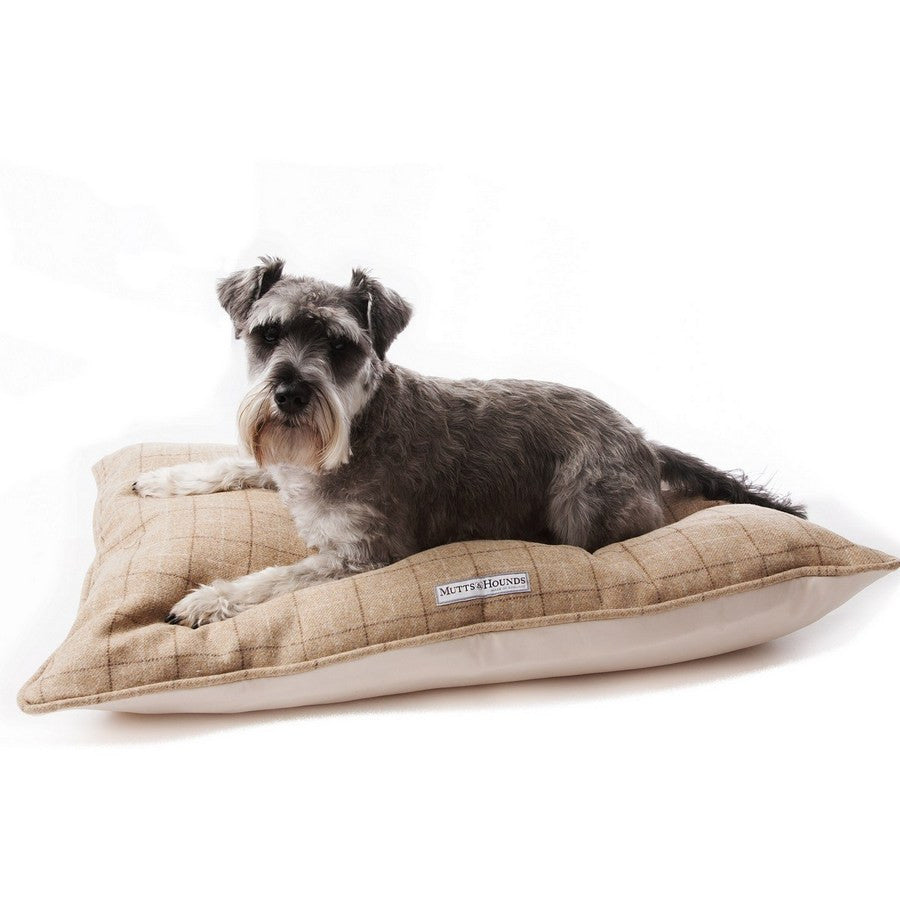 Oatmeal Tweed Pillow Dog Bed - Fernie's Choice Classic Country Wear for Dogs