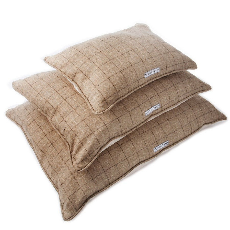 Mutts & Hounds Luxury Tweed Oatmeal Check Pillow Dog Bed - Fernie's Choice