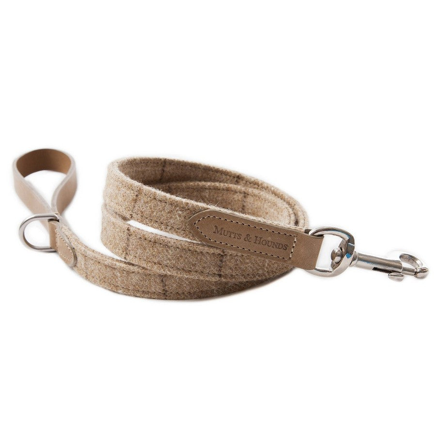 Oatmeal Check Tweed Dog Lead - Fernie's Choice Classic Country Wear for Dogs
