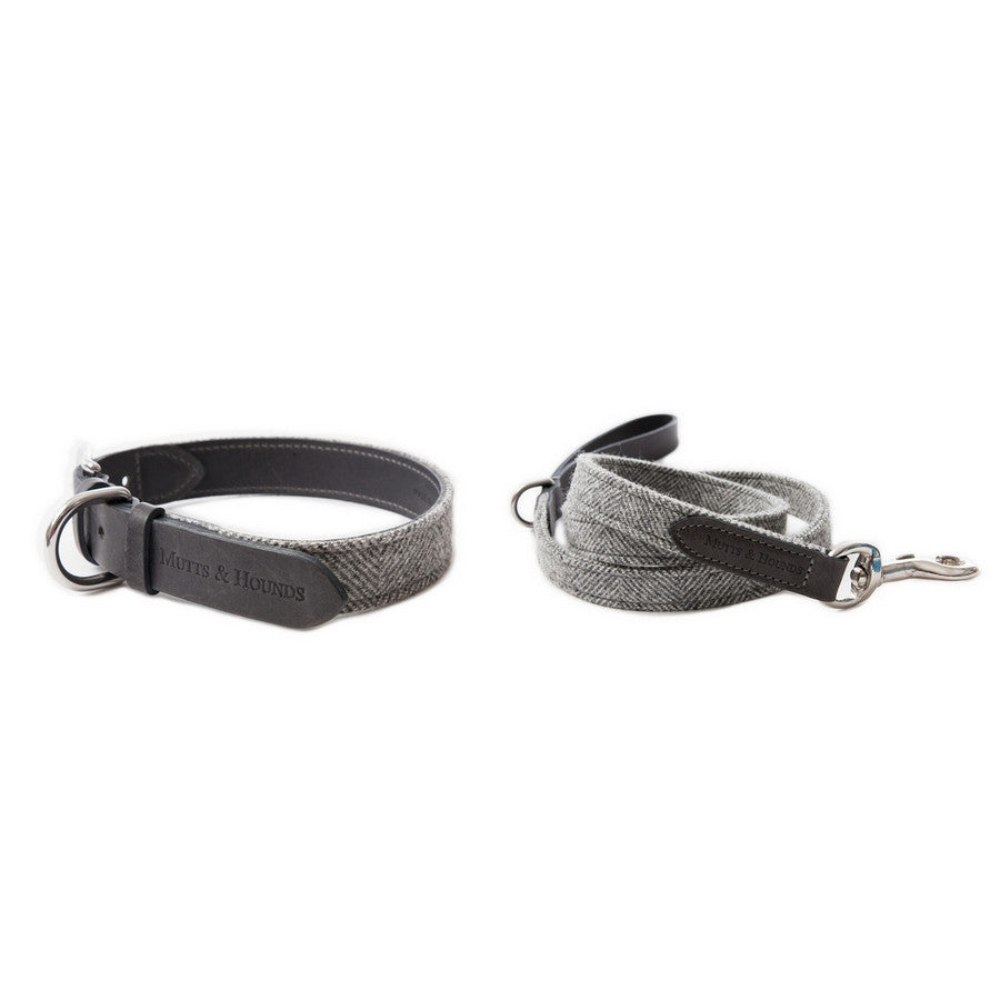 Mutts & Hounds Stoneham Tweed & Leather Dog Collar & Lead set - Fernie's Choice