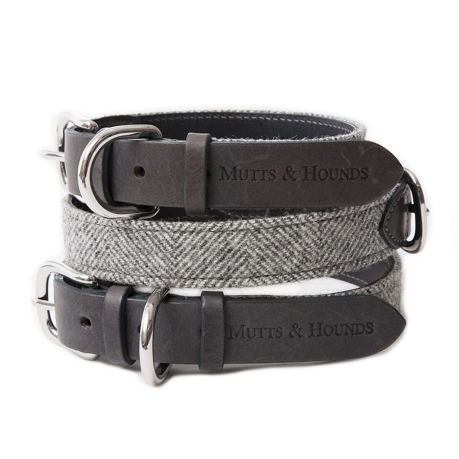 Luxury Stoneham Grey Tweed Dog Collar - Fernie's Choice Classic Country Wear for Dogs