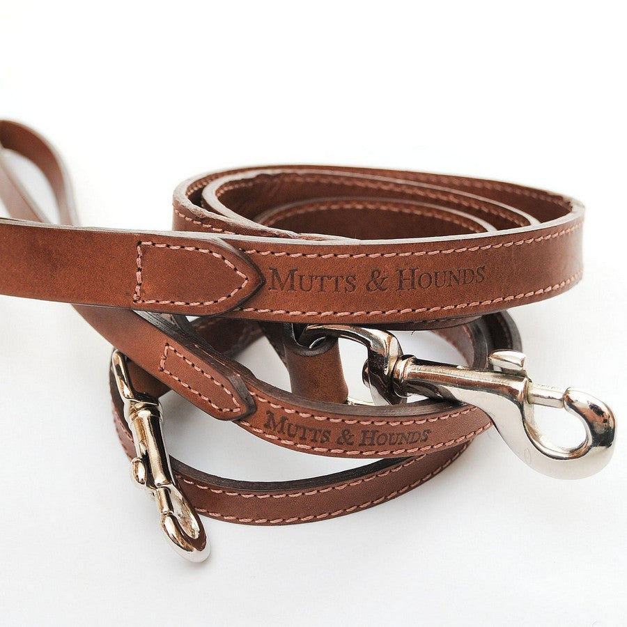 Mutts & Hounds Wide Tan Leather Dog Lead - Fernie's Choice