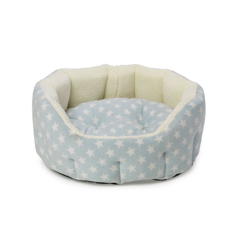 Blue Star Plush Fleece Oval Puppy Bed by House of Paws - Fernie's Choice. Luxury Products for Dogs