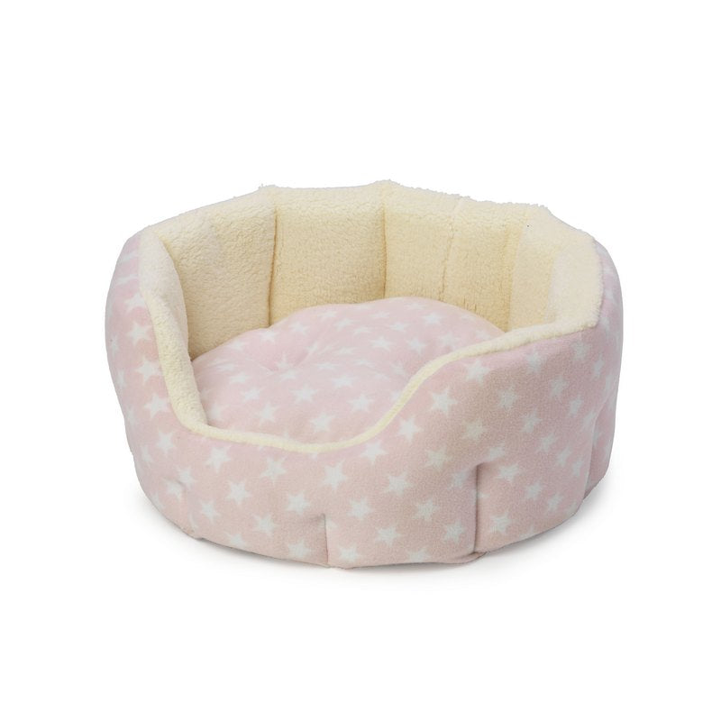 Pink Star Plush Fleece Oval Puppy Bed by House of Paws - Fernie's Choice. Luxury Products for Dogs