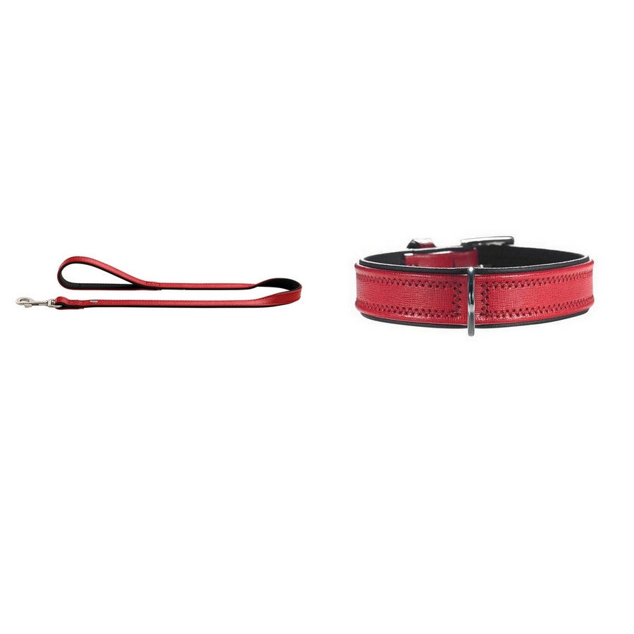 Hunter Red & Black Linum Leather Collar & Lead Set - Fernie's Choice Classic Country Wear for Dogs