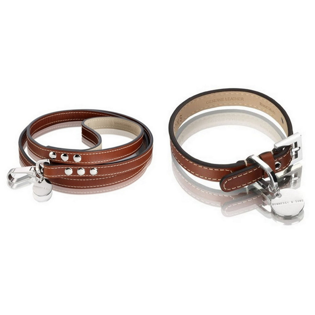 Hennessy & Sons Royal Classic Red Brown Dog Collar & Lead Set - Fernie's Choice
