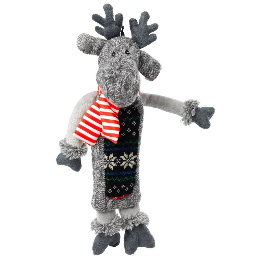 *Silent Night Squeaker and Stuffing Free Reindeer Christmas Dog Toy - Fernie's Choice Classic Country Wear for Dogs