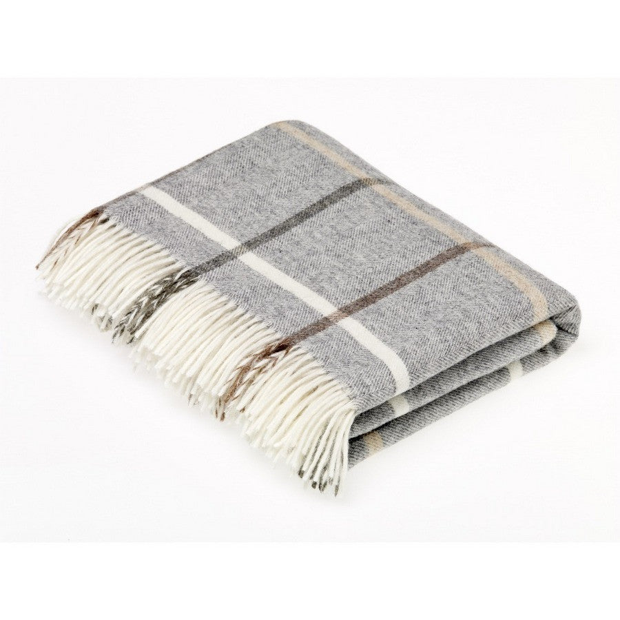 Bronte By Moon Grey Check Luxury Pure New Wool Dog Throw - Fernie's Choice