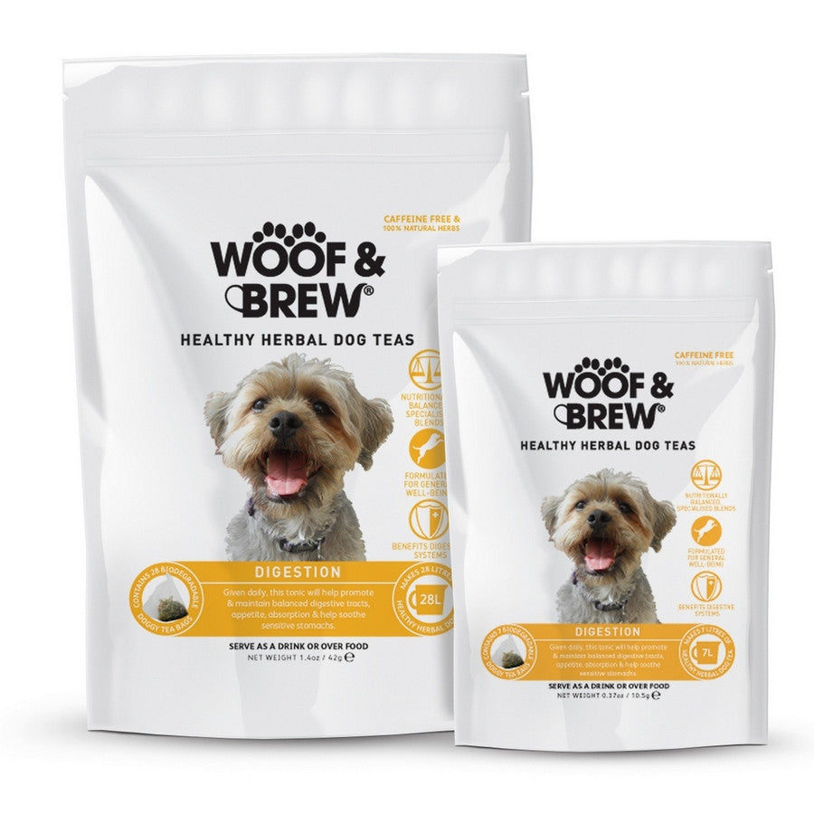 Woof & Brew Digestion Tea Bags for Dogs - Herbal Tea for Dogs - Fernie's Choice