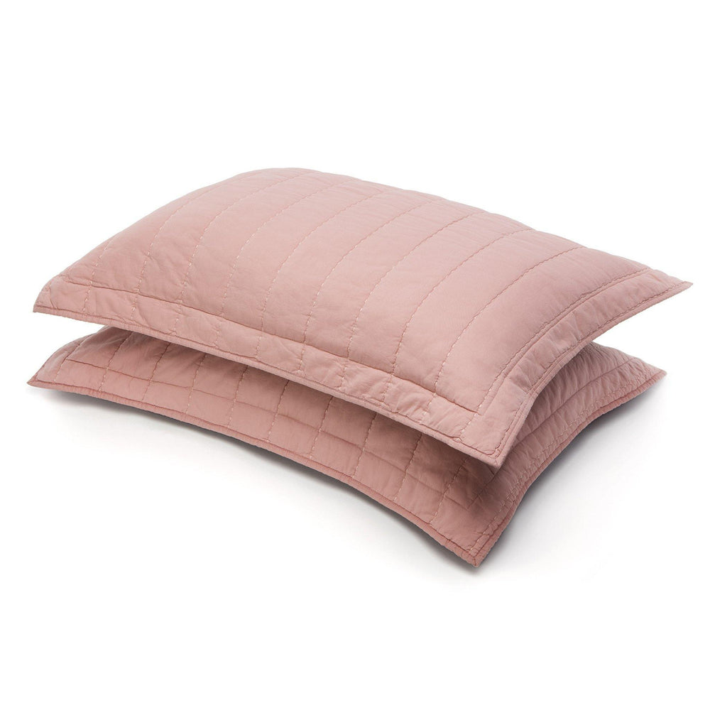 Organic Cotton Quilted Shams-Blush/Gray - endlessbay (4411631140937)