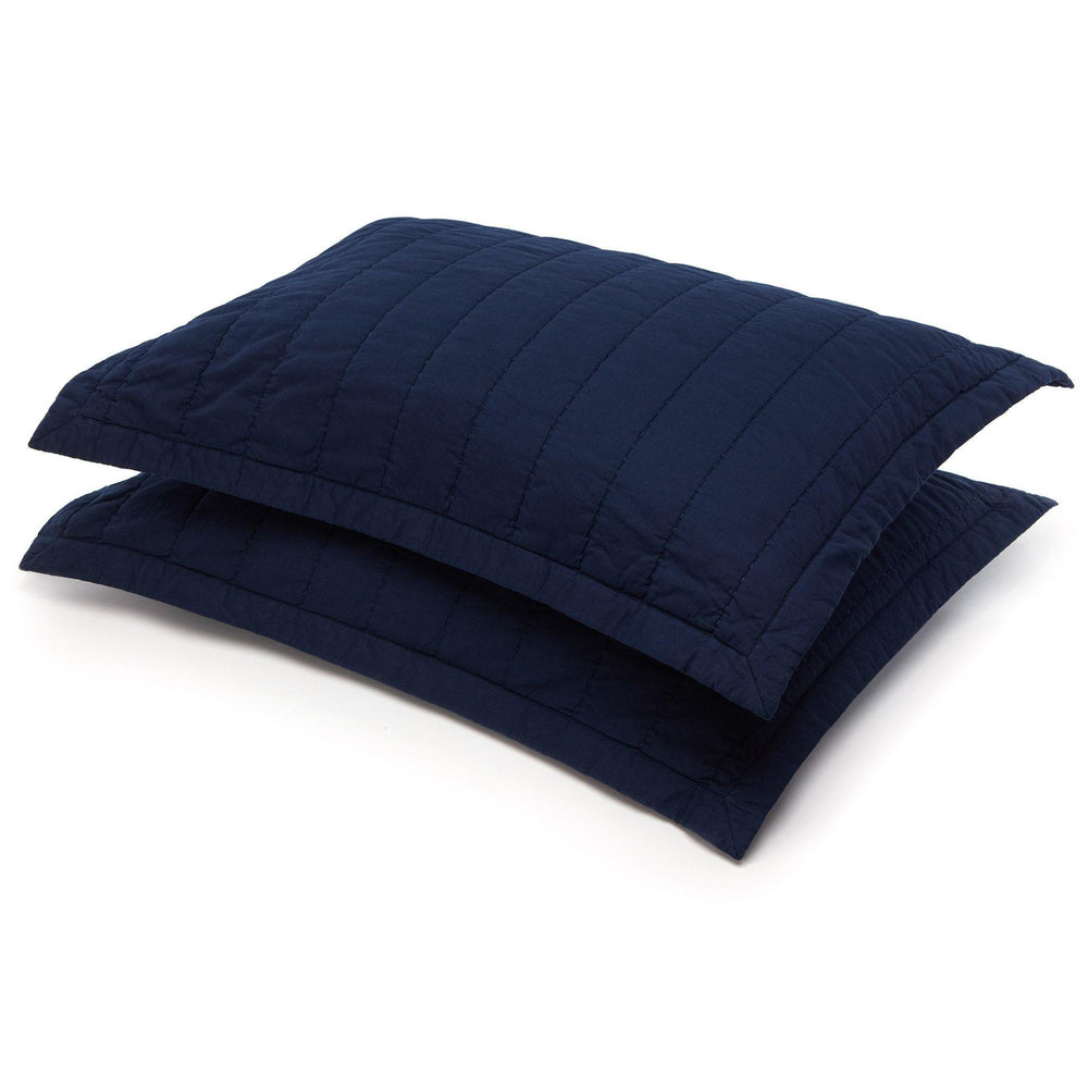 Organic Cotton Quilted Shams-Navy Blue - endlessbay