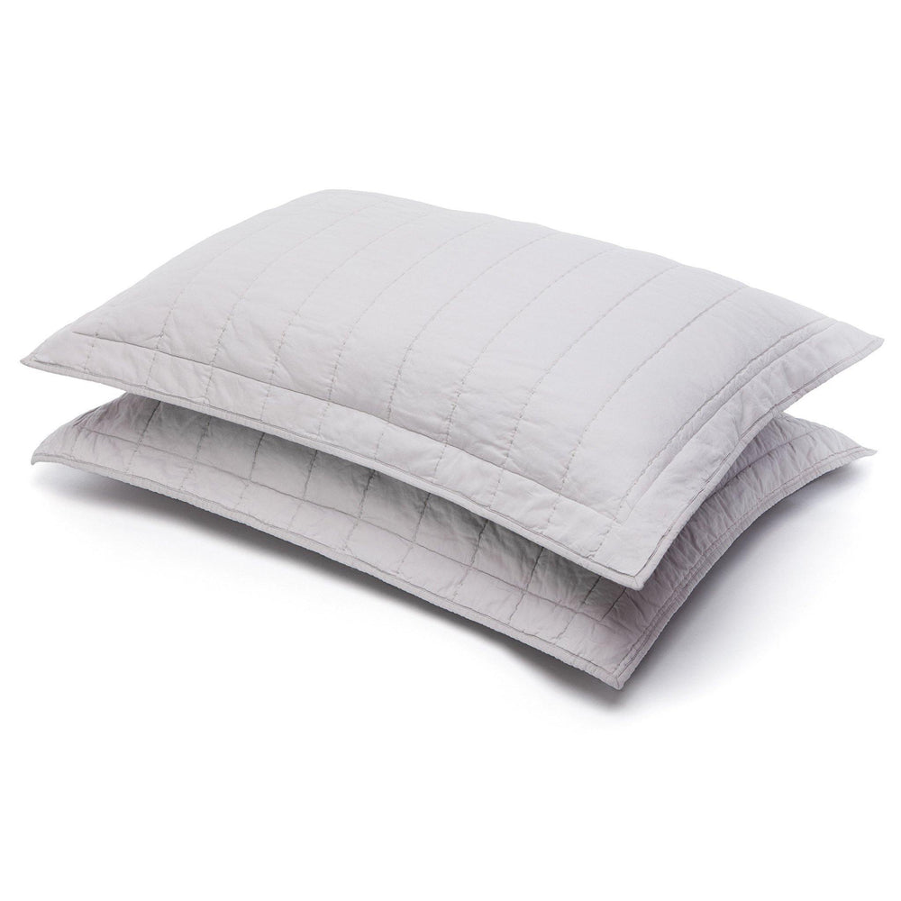 Organic Cotton Quilted Shams-Smoky white/Charcoal gray - endlessbay