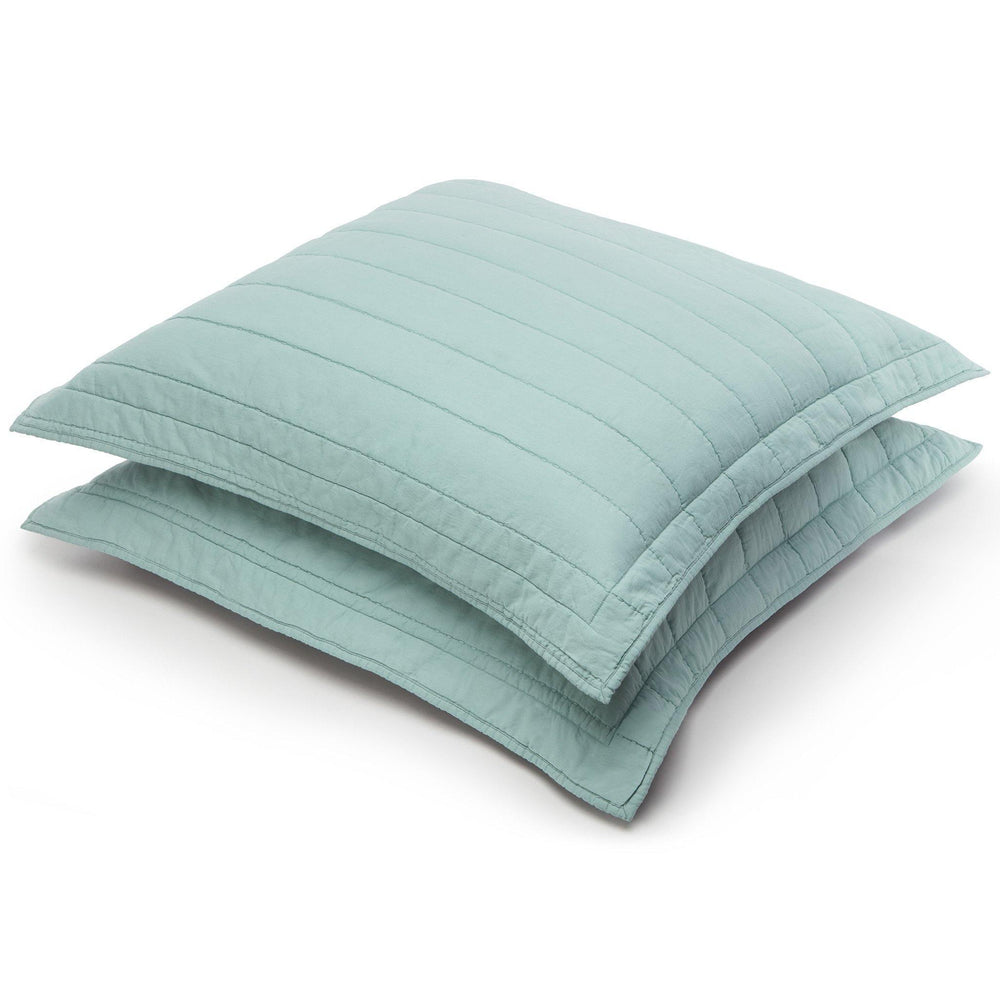 Organic Cotton Quilted Shams-Jade green/Gray - endlessbay