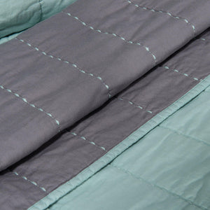 Organic Cotton Quilt-Jade green/Gray