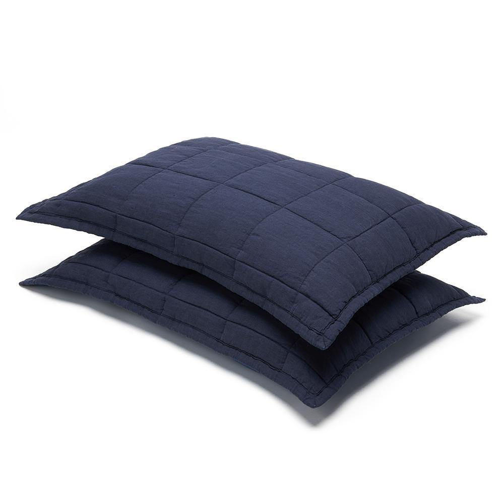 Organic Linen and Cotton Quilted Shams- Deep blue - endlessbay (4450016919625)
