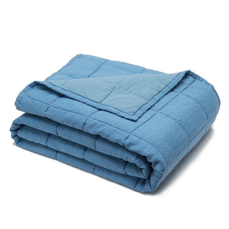 Organic Linen and Cotton Quilt-Aruba blue  - endlessbay (4449787117641)
