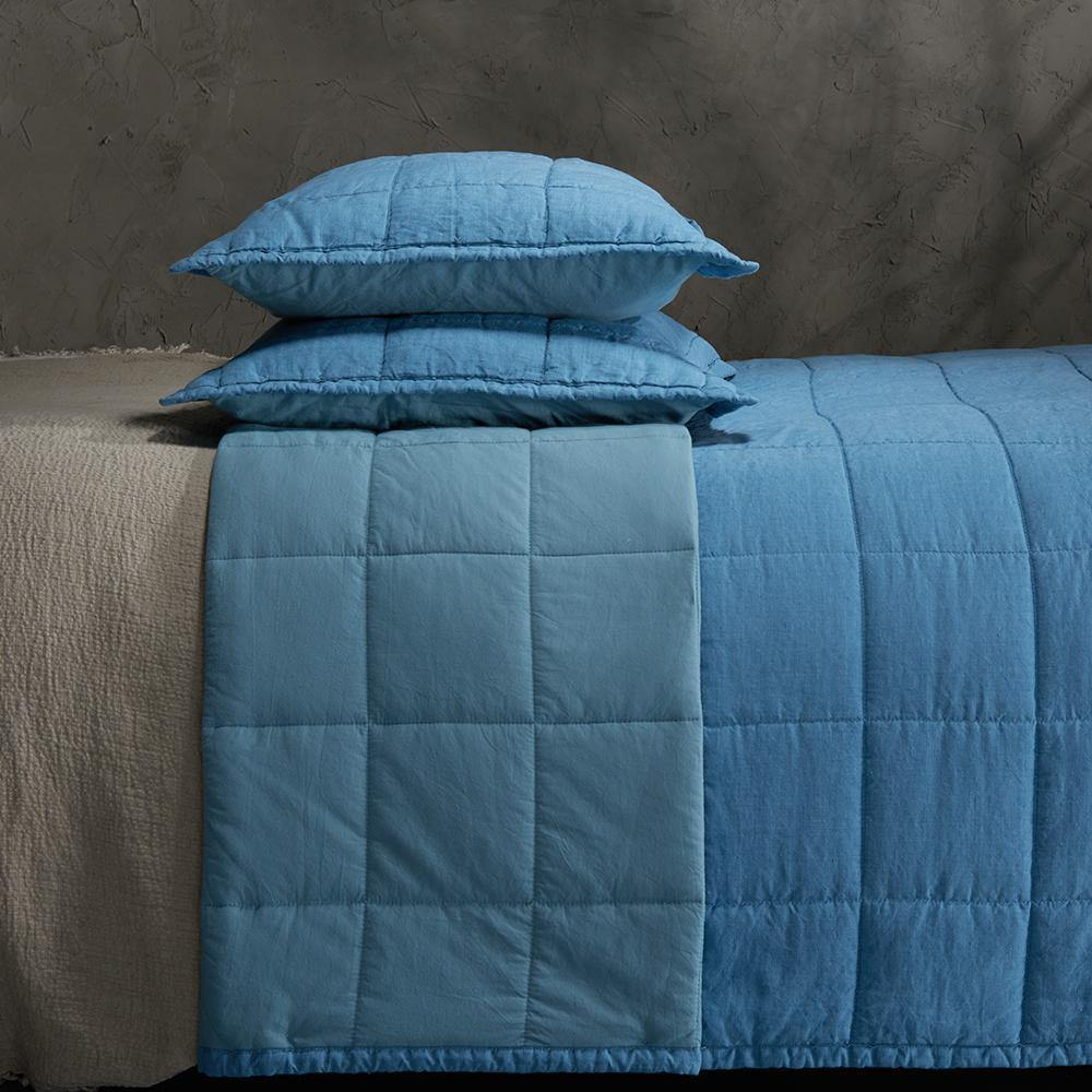 Organic Linen and Cotton Quilted Shams- Deep blue