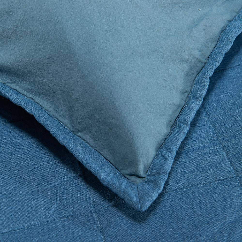 Organic Linen and Cotton Quilted Shams- Deep blue - endlessbay