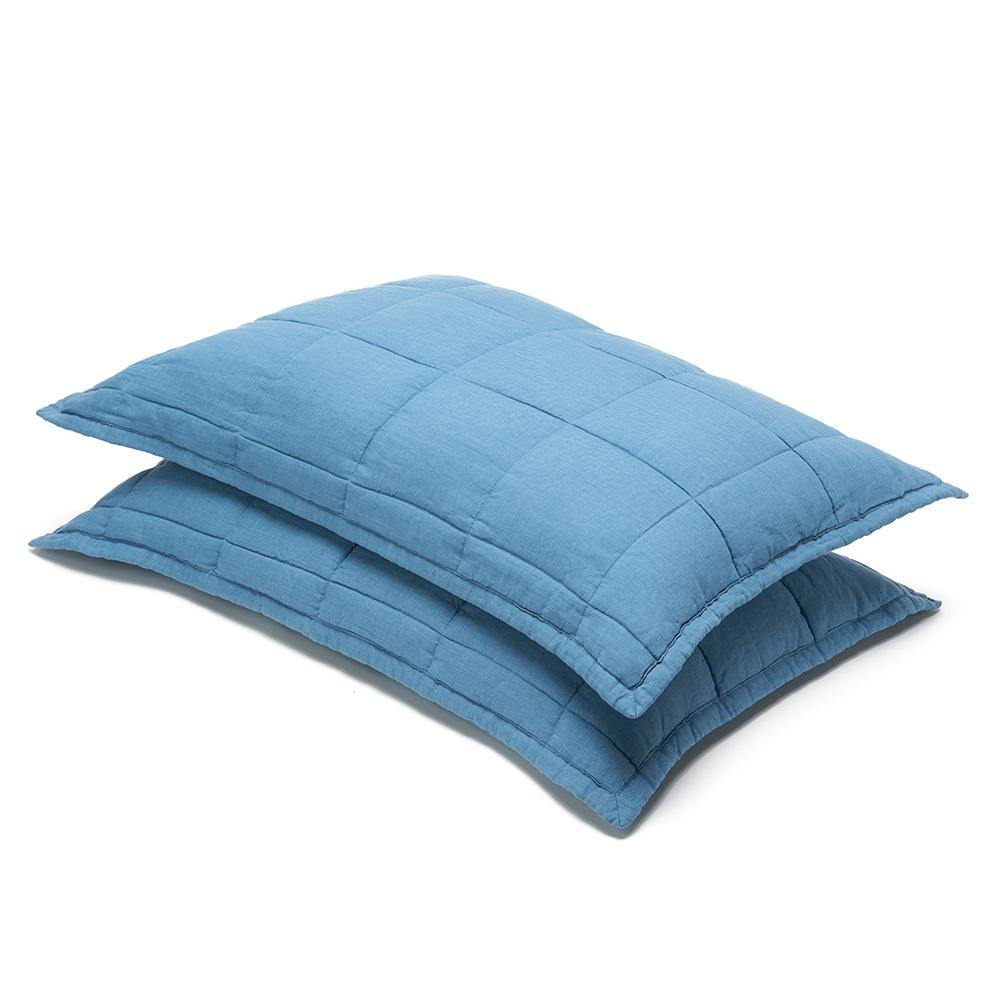 Organic Linen Quilted Shams-Aruba blue/White