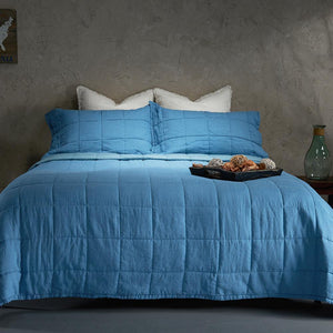 Organic Linen and Cotton Quilt-Aruba blue