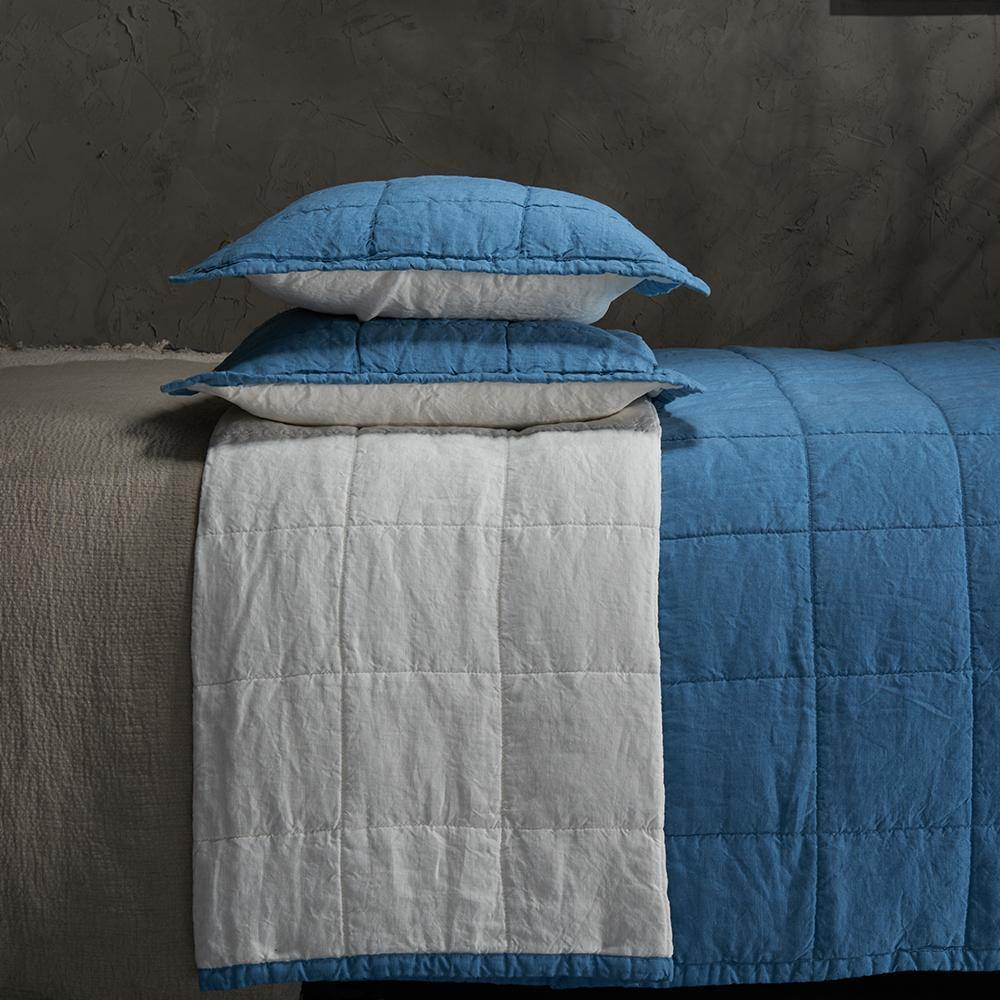 Organic Linen Quilted Shams-Aruba blue/White - endlessbay