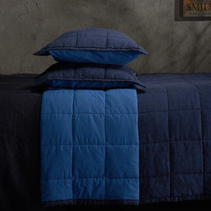 Organic Linen and Cotton Quilt-Deep blue
