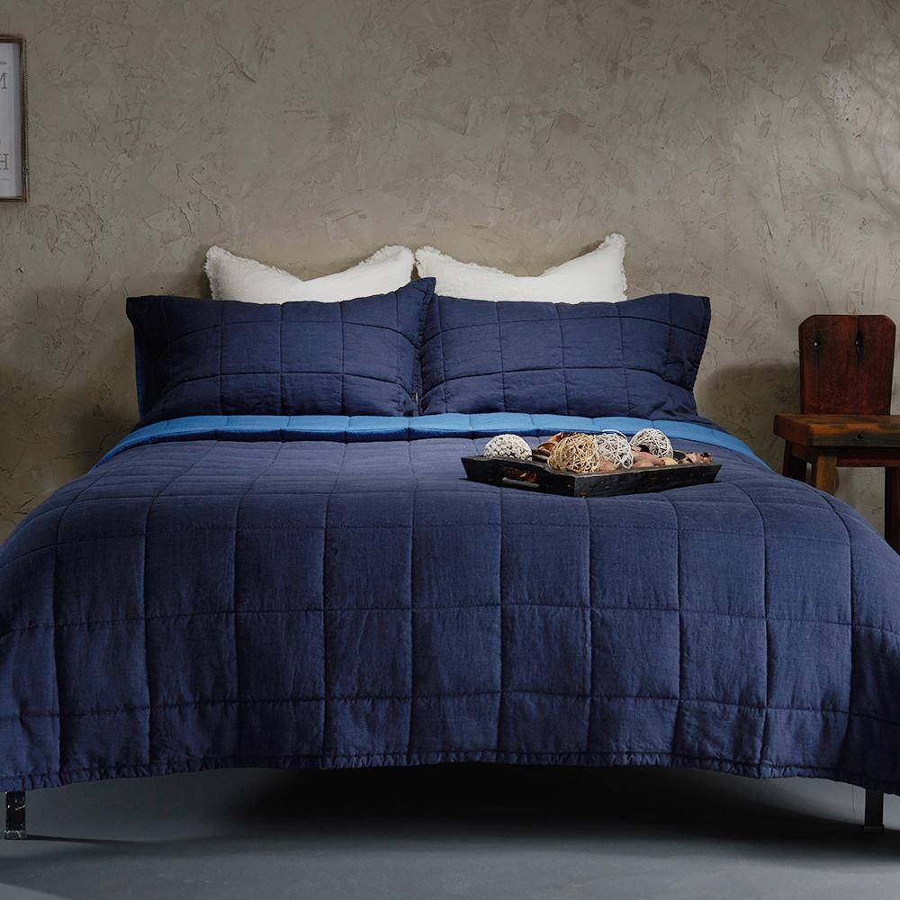 Organic Linen and Cotton Quilt-Deep blue - endlessbay