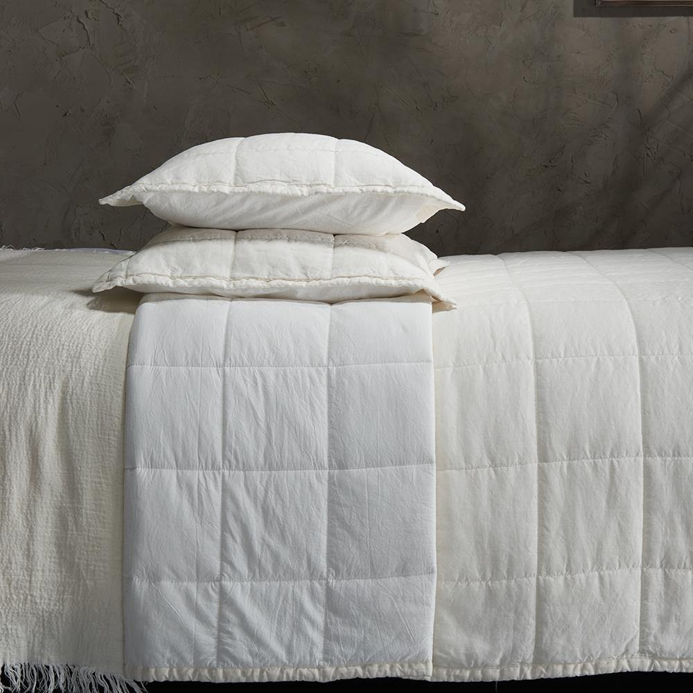 Organic Linen and Cotton Quilt-Ivory - endlessbay