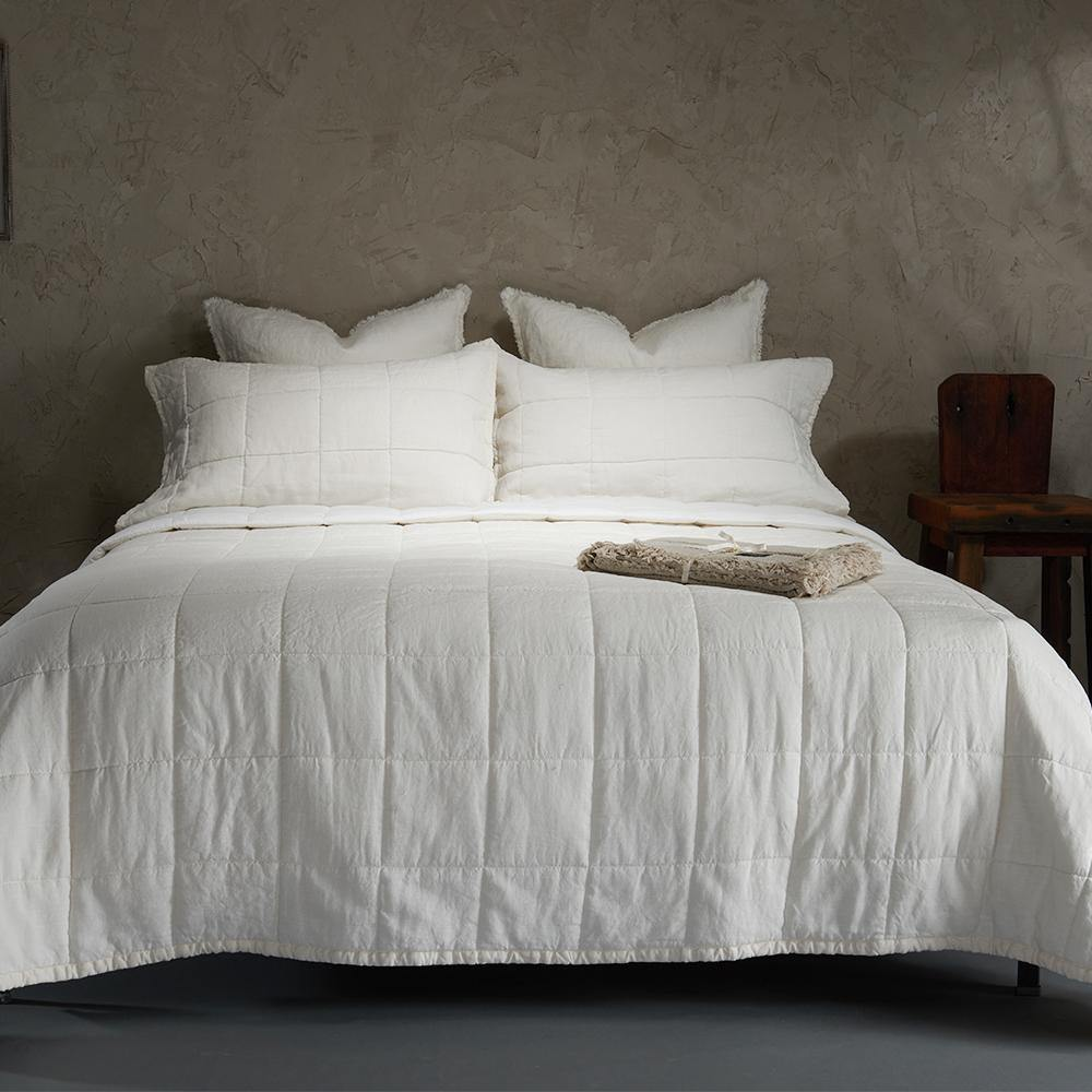 Organic Linen and Cotton Quilt-Ivory - endlessbay (4449867235401)