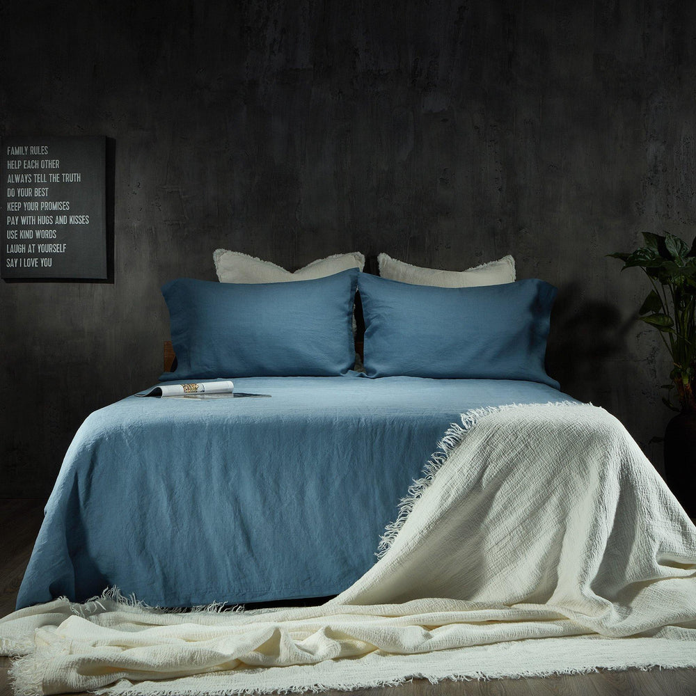 Linen Duvet Cover-Deep Blue - endlessbay