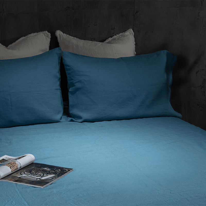 Linen Duvet Cover-Deep Blue