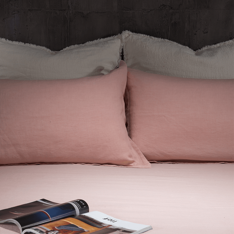 Essential Linen Sheet Set-Bermuda Pink