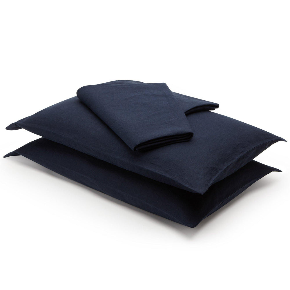 Linen Flat Sheet-Deep Blue