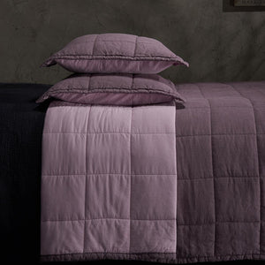 Organic Linen and Cotton Quilted Shams-Aruba blue
