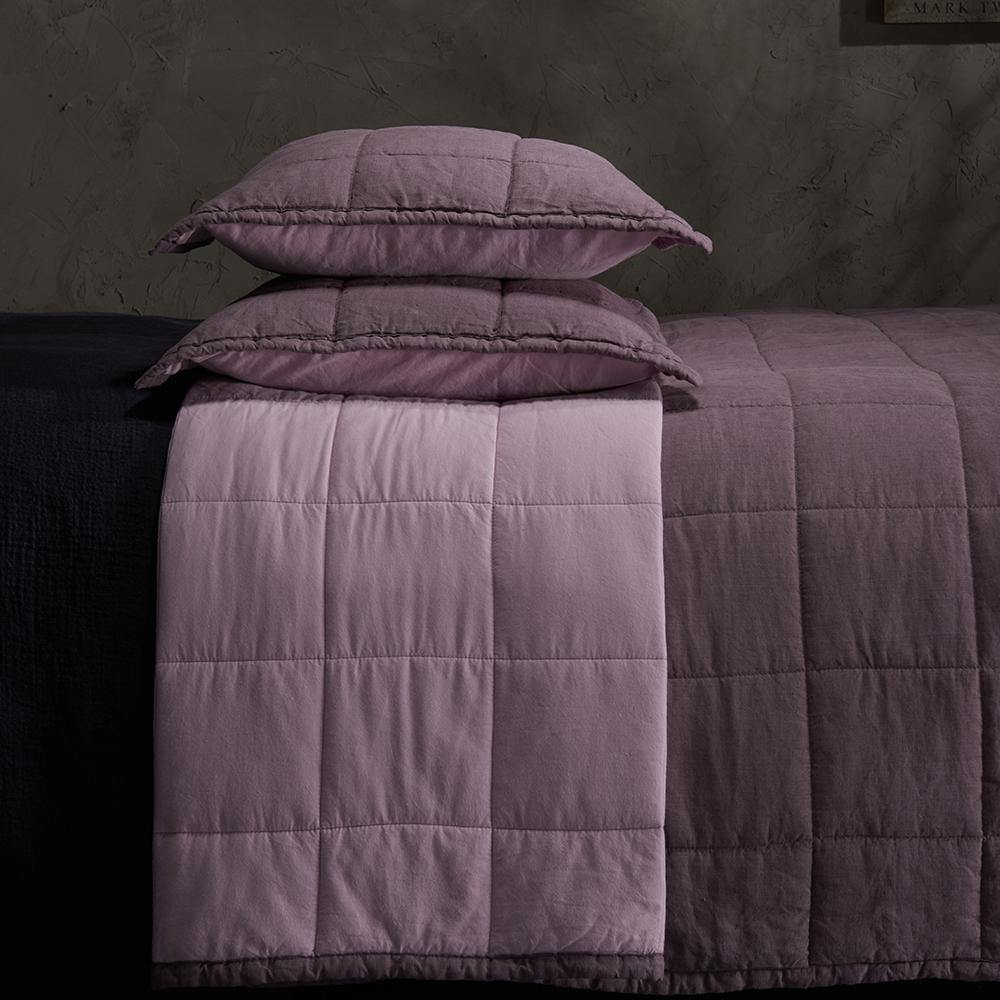 Organic Linen and Cotton Quilted Shams- Sangria - endlessbay (4450023604297)