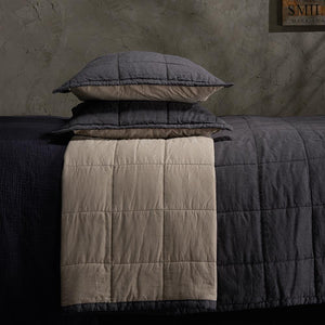 Organic Linen and Cotton Quilted Shams- Sangria - endlessbay