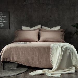 Linen Flat Sheet-Dawn Grey/Toasted Coconut - endlessbay