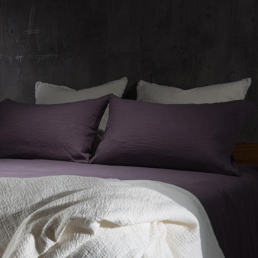 Linen Flat Sheet-Dawn Grey/Toasted Coconut