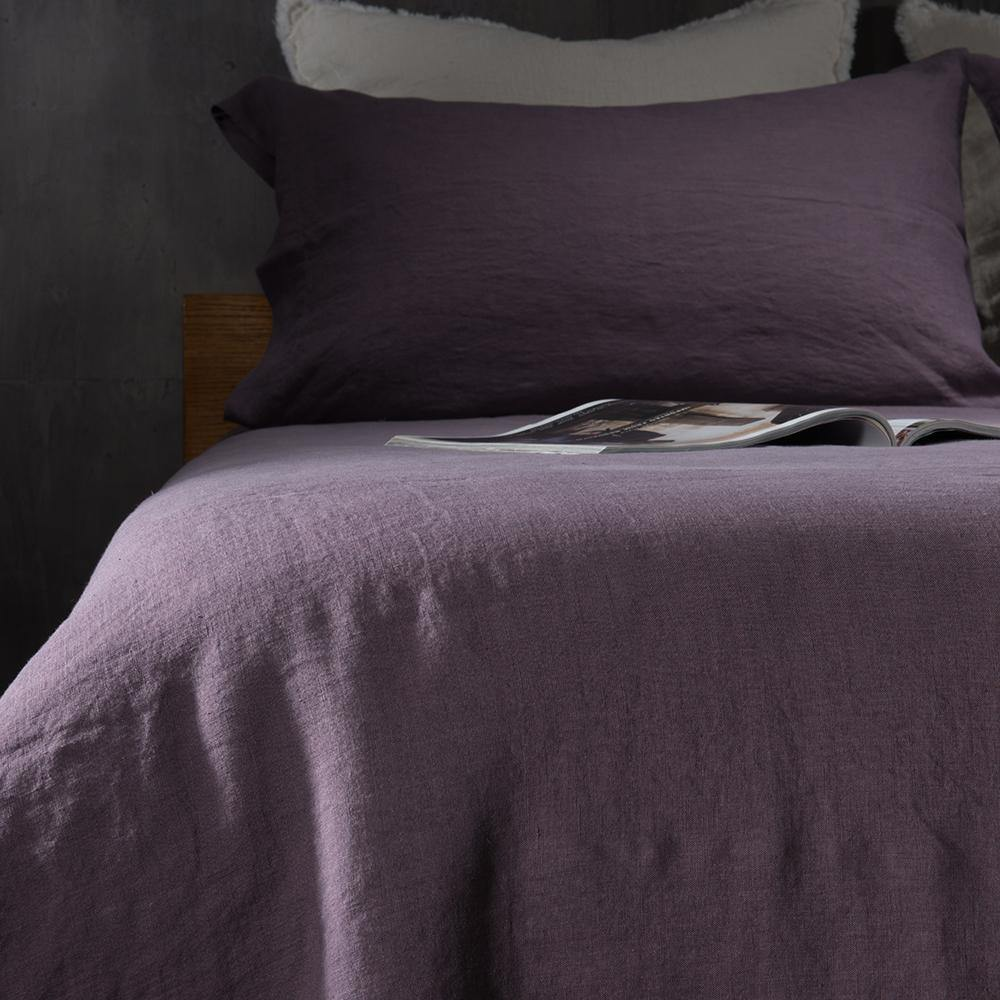 Linen Duvet Cover-Dawn Grey/Toasted Coconut