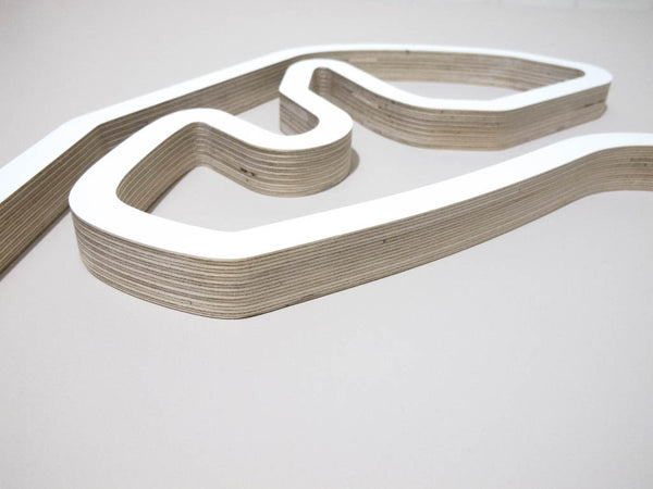 Autodromo Jose Carlos Pace Sao Paulo F1 Racing Track Wall Art Sculpture Close Up of Ferradura Corner in a White Finish