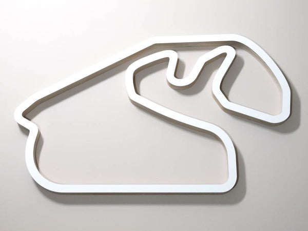 Autodromo Jose Carlos Pace Sao Paulo F1 Wooden Racing Track Wall Art Sculpture Aerial View in a White Finish