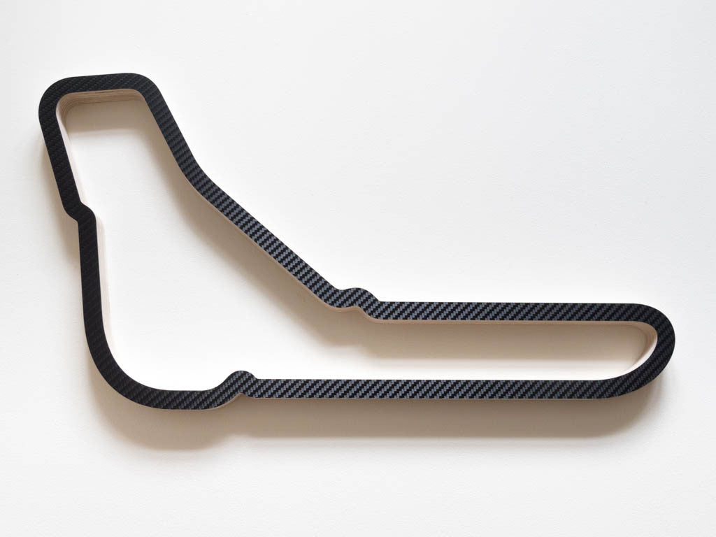 Autodromo Nazionale Monza Wooden Racing Circuit Wall Art Carving in a Carbon Fibre Finish